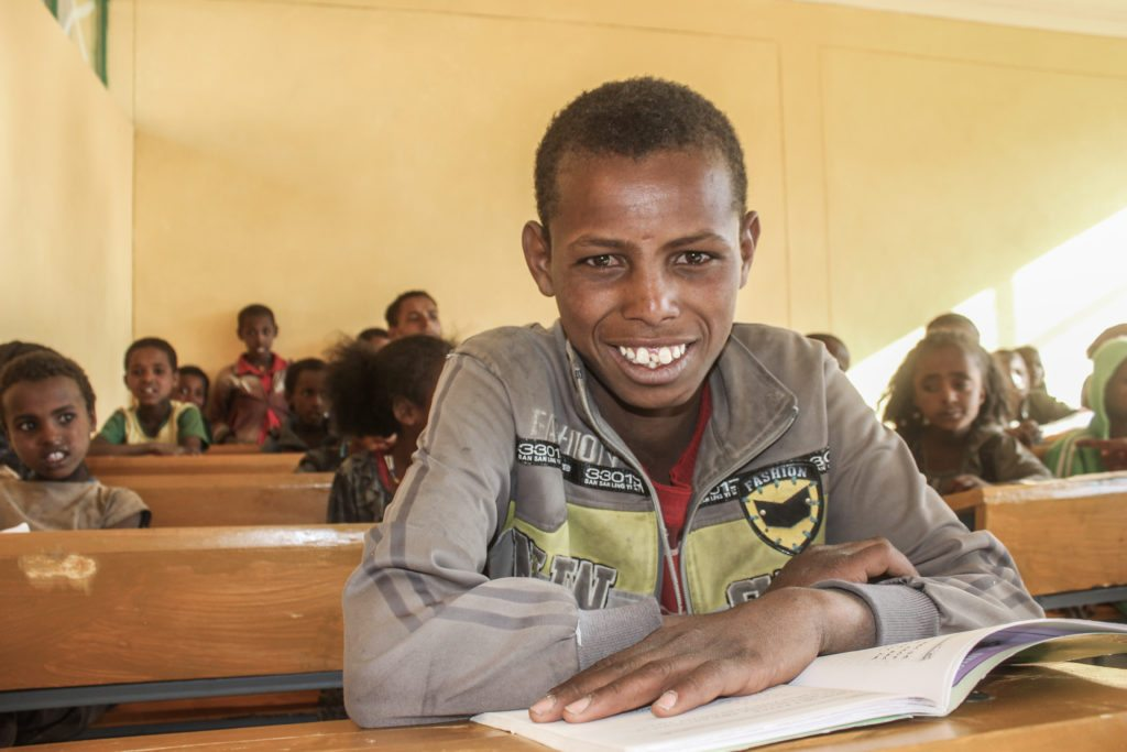 Taeme Hiluf inside his new classrooms at Gereb Abdela Primary School.